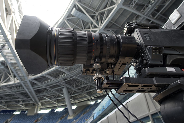 Television Camera in Football Stadium