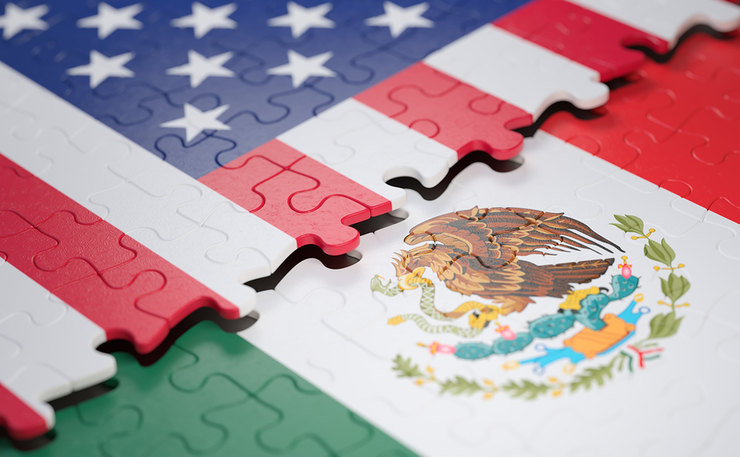 USA and Mexico Flags as Puzzle Pieces