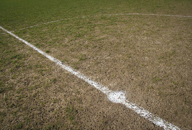 Worn Football Centre Cirlce