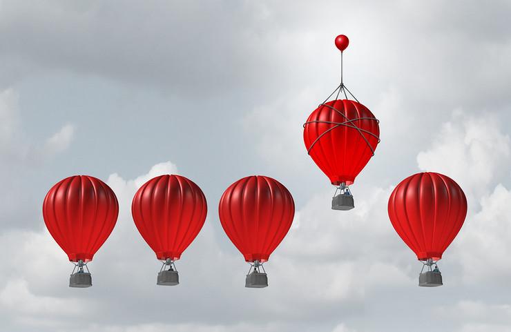 Hot Air Balloon Aided by Additional Balloon