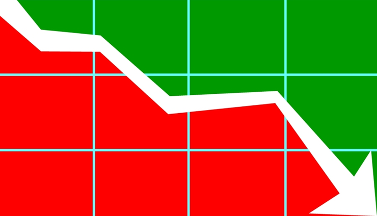 Downward Trend Arrow Green and Red Split