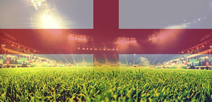 Football Stadium and England Flag