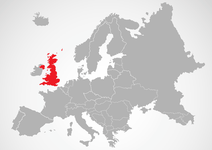 Map of Europe With UK Highlighted in Red