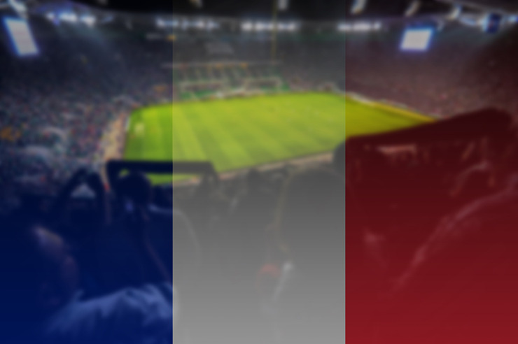 French Flag Overlaid on Football Stadium