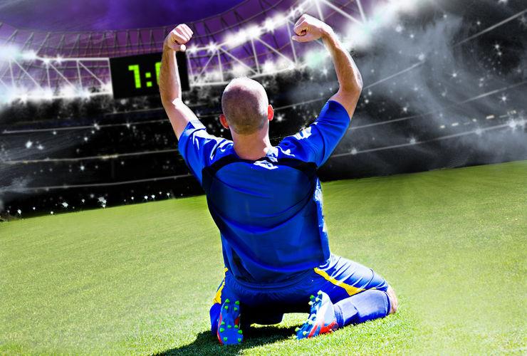 Footballer Celebrating