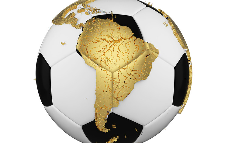 Map of South America on Football