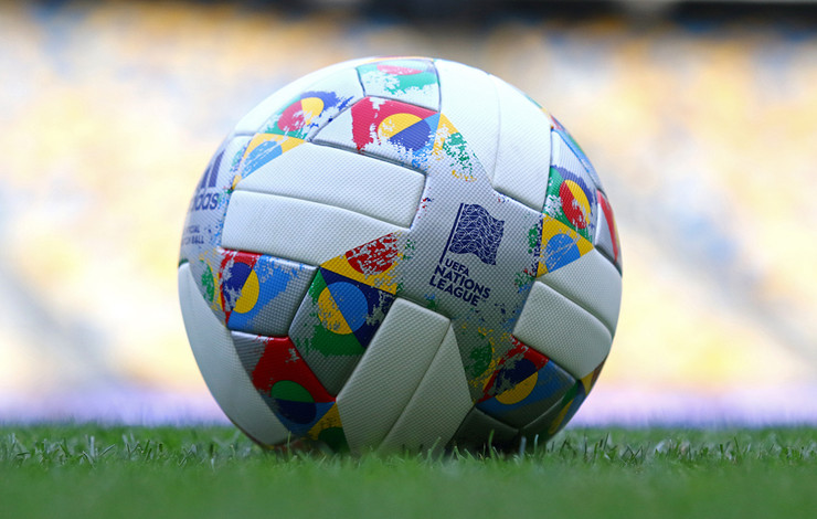 Official UEFA Nations League Match Ball on Pitch