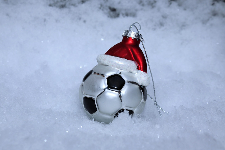 Football Christmas Decoration in Snow