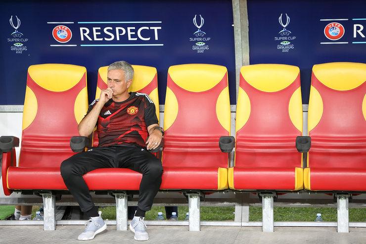 Jose Mourinho Sitting on Football Bench