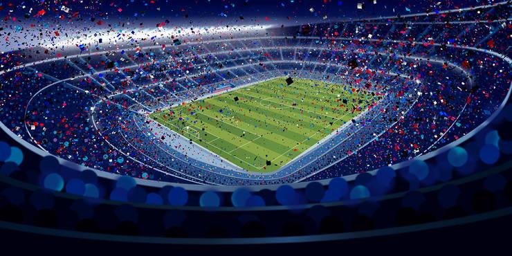 Football Stadium and Ticker Tape