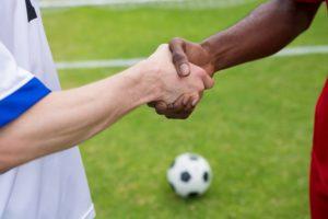 Footballers Shake Hands