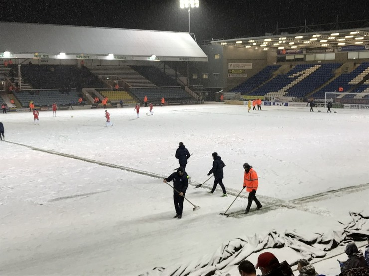 Beast from the East Snow on Pitch