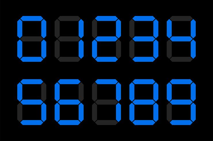Blue Digital Numbers