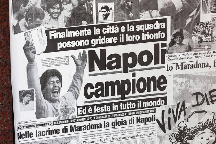 Napoli and Maradona Newspaper Headline in La Gazzetta Dello Sport